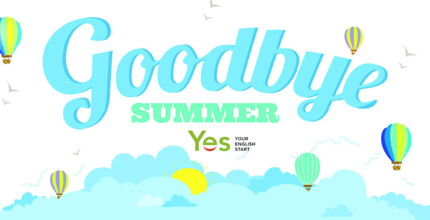 Vector illustration banners with funny happy smiling kids. Bright backgrounds in a cute and cartoon style. Goodbye summer. Hello autumn. Outdoor, travel, beach, sea, playground, garden, sky, grass